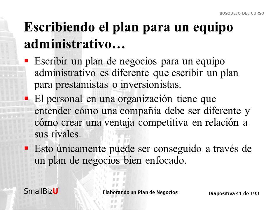 Elaborando un Plan de Negocios Diapositiva 41 de 193 SmallBizU BOSQUEJO DEL CURSO Escribiendo el plan para un equipo administrativo… Escribir un plan