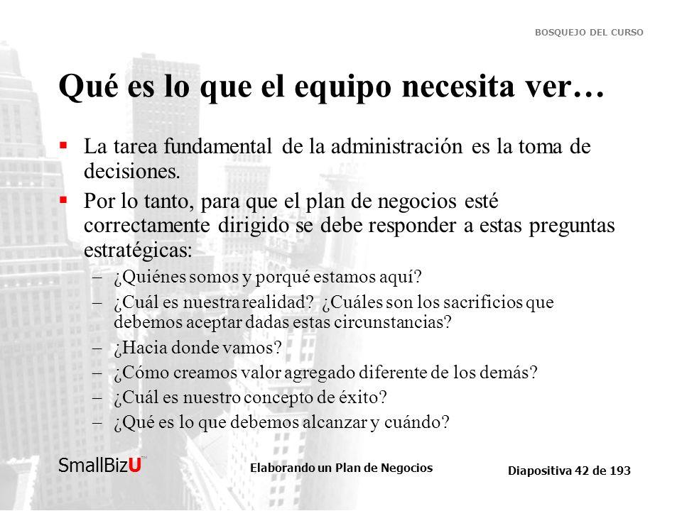 Elaborando un Plan de Negocios Diapositiva 42 de 193 SmallBizU BOSQUEJO DEL CURSO Qué es lo que el equipo necesita ver… La tarea fundamental de la adm