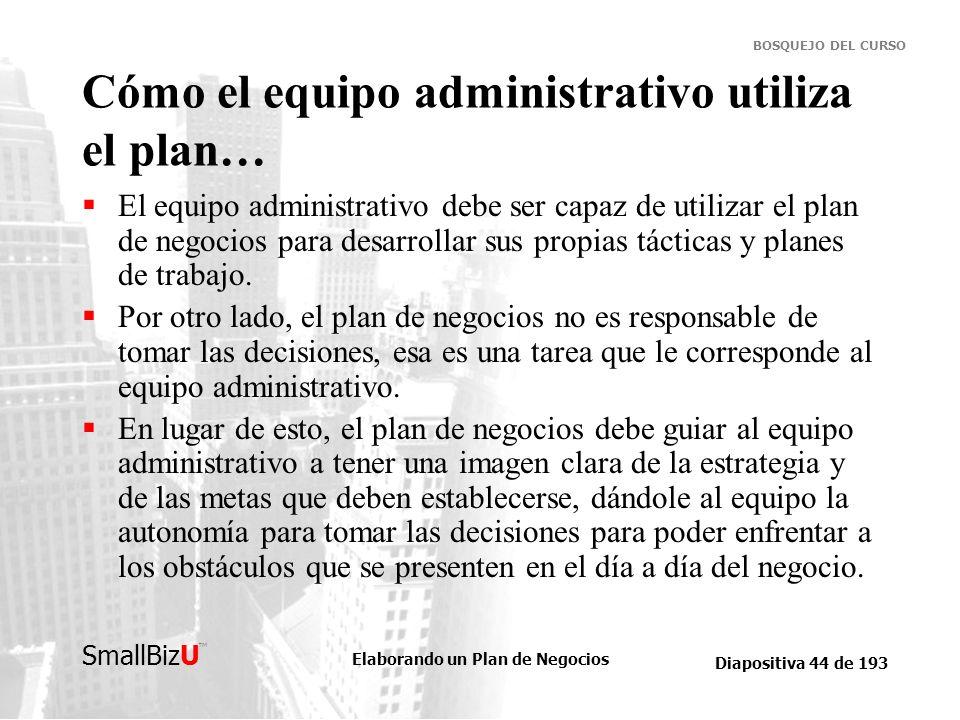 Elaborando un Plan de Negocios Diapositiva 44 de 193 SmallBizU BOSQUEJO DEL CURSO Cómo el equipo administrativo utiliza el plan… El equipo administrat