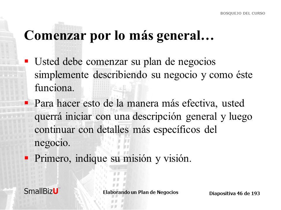 Elaborando un Plan de Negocios Diapositiva 46 de 193 SmallBizU BOSQUEJO DEL CURSO Comenzar por lo más general… Usted debe comenzar su plan de negocios