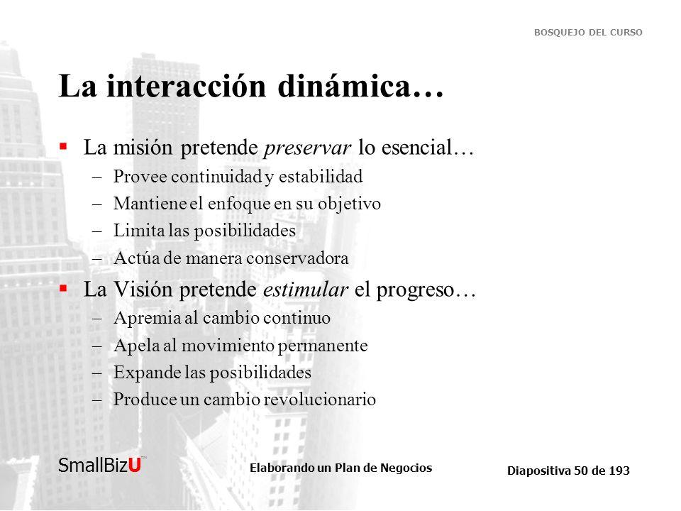 Elaborando un Plan de Negocios Diapositiva 50 de 193 SmallBizU BOSQUEJO DEL CURSO La interacción dinámica… La misión pretende preservar lo esencial… –