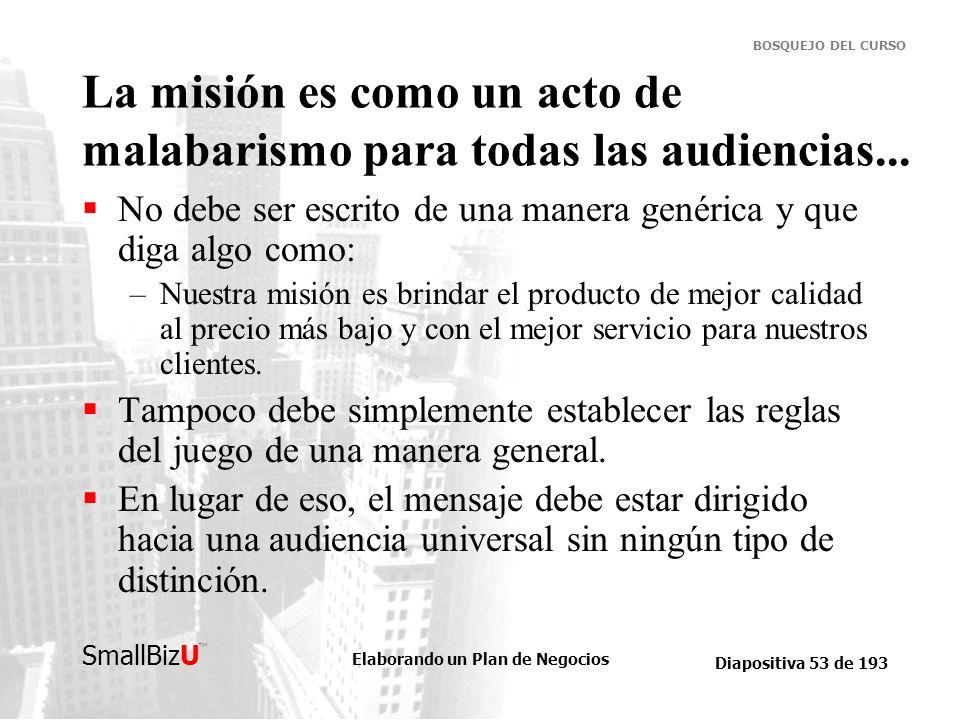 Elaborando un Plan de Negocios Diapositiva 53 de 193 SmallBizU BOSQUEJO DEL CURSO La misión es como un acto de malabarismo para todas las audiencias..