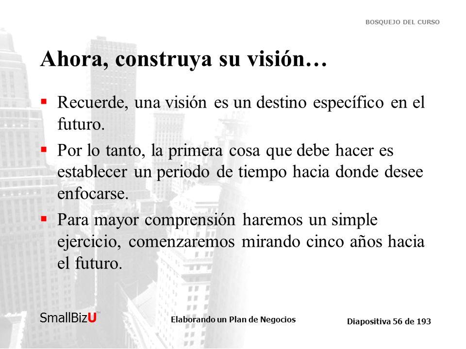Elaborando un Plan de Negocios Diapositiva 56 de 193 SmallBizU BOSQUEJO DEL CURSO Ahora, construya su visión… Recuerde, una visión es un destino espec