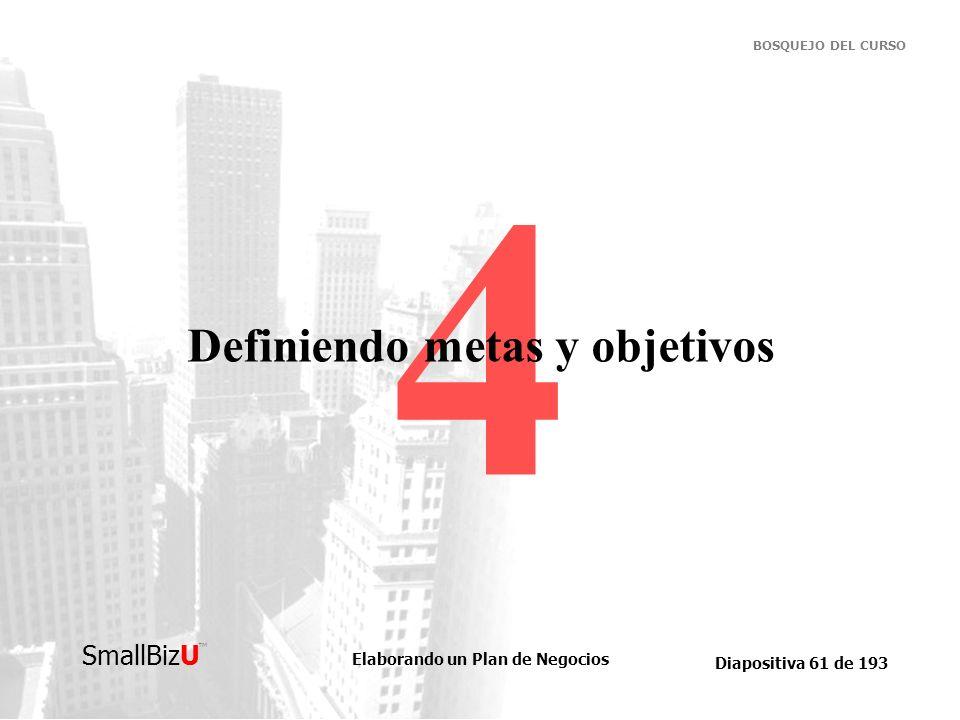 Elaborando un Plan de Negocios Diapositiva 61 de 193 SmallBizU BOSQUEJO DEL CURSO 4 Definiendo metas y objetivos