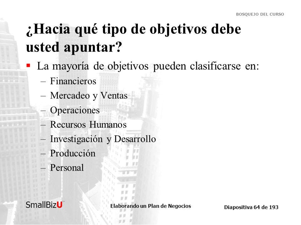 Elaborando un Plan de Negocios Diapositiva 64 de 193 SmallBizU BOSQUEJO DEL CURSO ¿Hacia qué tipo de objetivos debe usted apuntar? La mayoría de objet