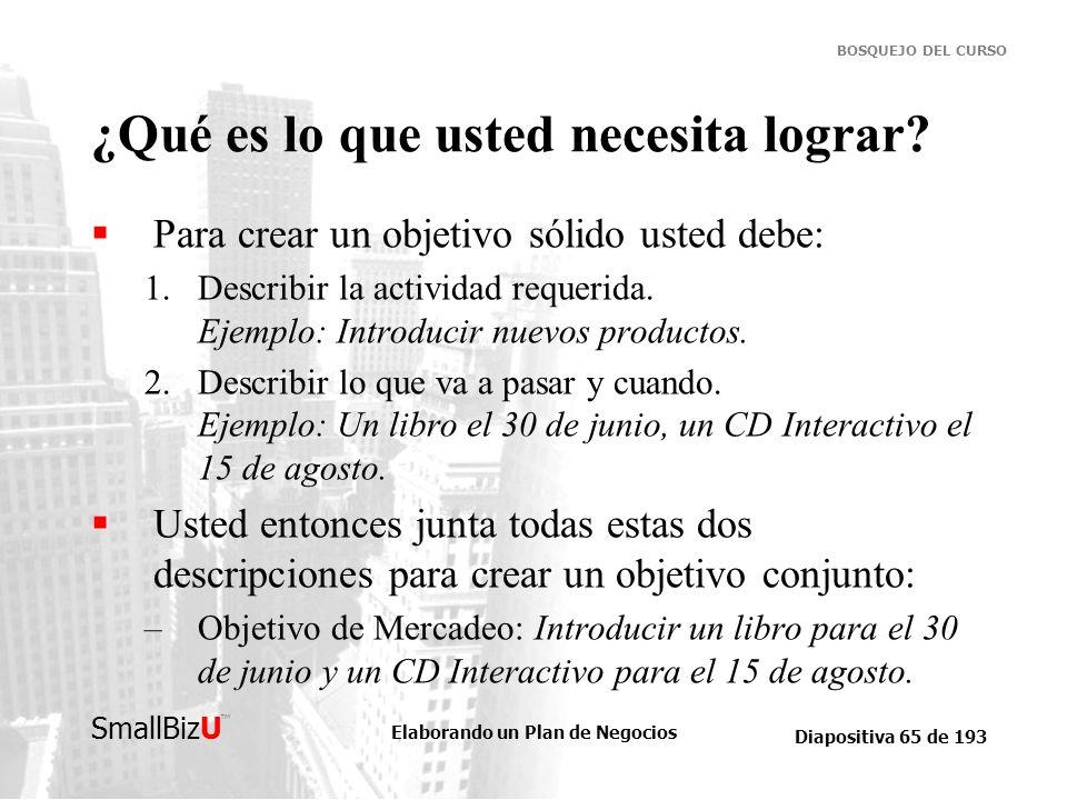 Elaborando un Plan de Negocios Diapositiva 65 de 193 SmallBizU BOSQUEJO DEL CURSO ¿Qué es lo que usted necesita lograr? Para crear un objetivo sólido