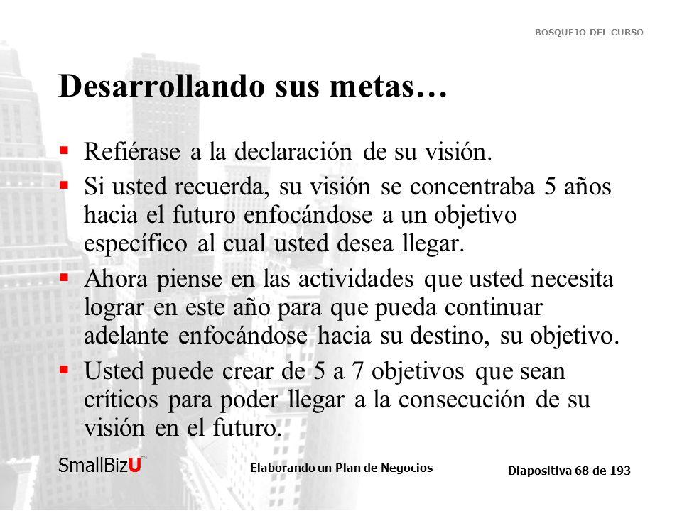 Elaborando un Plan de Negocios Diapositiva 68 de 193 SmallBizU BOSQUEJO DEL CURSO Desarrollando sus metas… Refiérase a la declaración de su visión. Si