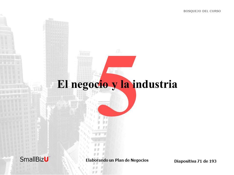 Elaborando un Plan de Negocios Diapositiva 71 de 193 SmallBizU BOSQUEJO DEL CURSO 5 El negocio y la industria