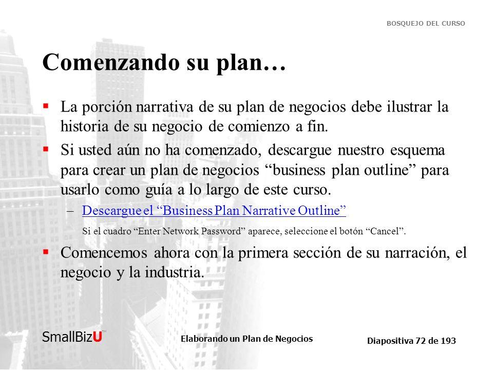 Elaborando un Plan de Negocios Diapositiva 72 de 193 SmallBizU BOSQUEJO DEL CURSO Comenzando su plan… La porción narrativa de su plan de negocios debe