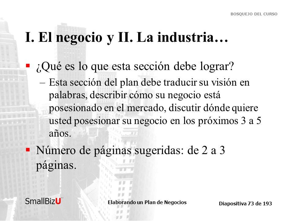 Elaborando un Plan de Negocios Diapositiva 73 de 193 SmallBizU BOSQUEJO DEL CURSO I. El negocio y II. La industria… ¿Qué es lo que esta sección debe l