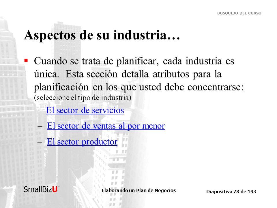 Elaborando un Plan de Negocios Diapositiva 78 de 193 SmallBizU BOSQUEJO DEL CURSO Aspectos de su industria… Cuando se trata de planificar, cada indust