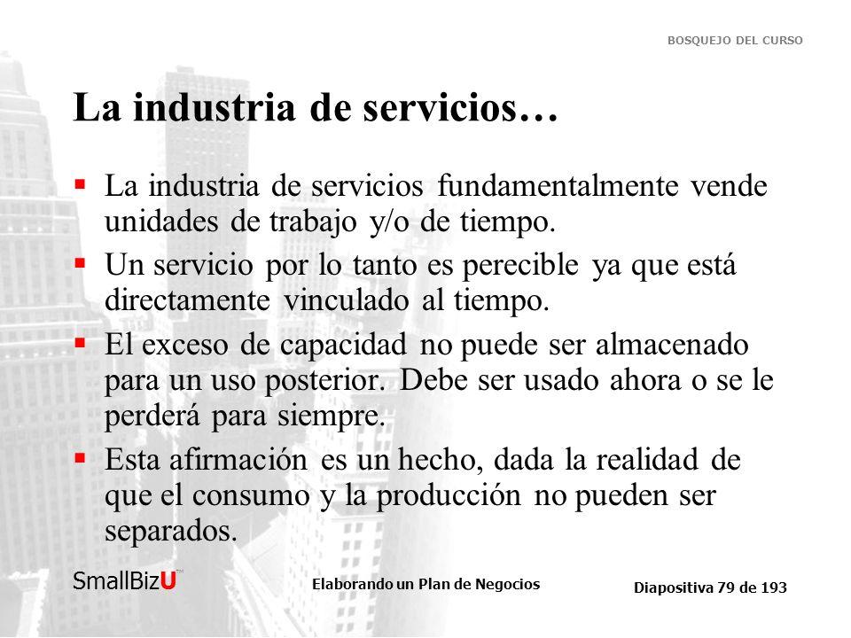 Elaborando un Plan de Negocios Diapositiva 79 de 193 SmallBizU BOSQUEJO DEL CURSO La industria de servicios… La industria de servicios fundamentalment