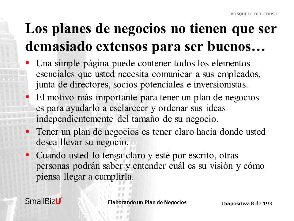 Elaborando un Plan de Negocios Diapositiva 9 de 193 SmallBizU BOSQUEJO DEL CURSO Un buen plan de negocios toca temas tales como… Estrategia, que significa saber qué hacer.