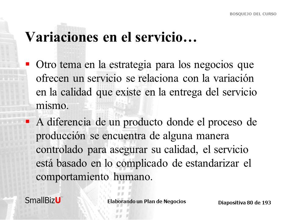 Elaborando un Plan de Negocios Diapositiva 80 de 193 SmallBizU BOSQUEJO DEL CURSO Variaciones en el servicio… Otro tema en la estrategia para los nego