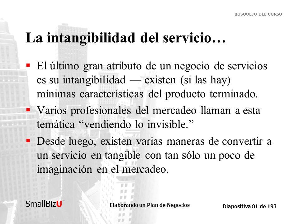 Elaborando un Plan de Negocios Diapositiva 81 de 193 SmallBizU BOSQUEJO DEL CURSO La intangibilidad del servicio… El último gran atributo de un negoci