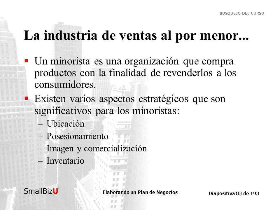 Elaborando un Plan de Negocios Diapositiva 83 de 193 SmallBizU BOSQUEJO DEL CURSO La industria de ventas al por menor... Un minorista es una organizac