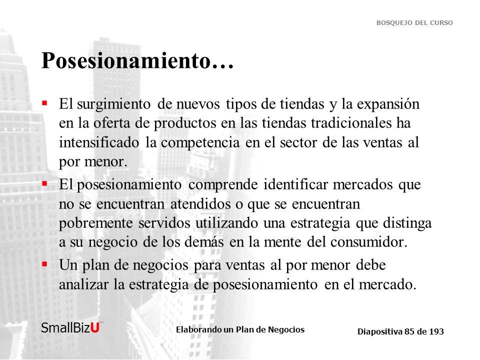 Elaborando un Plan de Negocios Diapositiva 85 de 193 SmallBizU BOSQUEJO DEL CURSO Posesionamiento… El surgimiento de nuevos tipos de tiendas y la expa