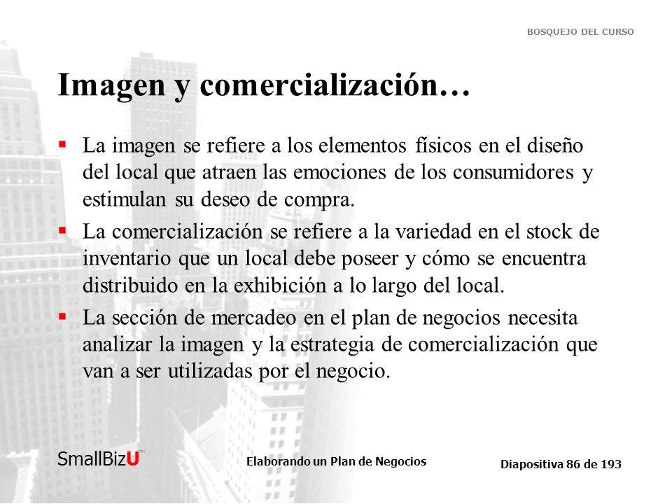 Elaborando un Plan de Negocios Diapositiva 86 de 193 SmallBizU BOSQUEJO DEL CURSO Imagen y comercialización… La imagen se refiere a los elementos físi