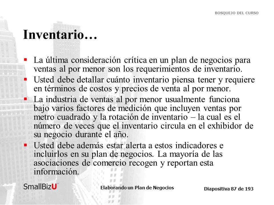 Elaborando un Plan de Negocios Diapositiva 87 de 193 SmallBizU BOSQUEJO DEL CURSO Inventario… La última consideración crítica en un plan de negocios p
