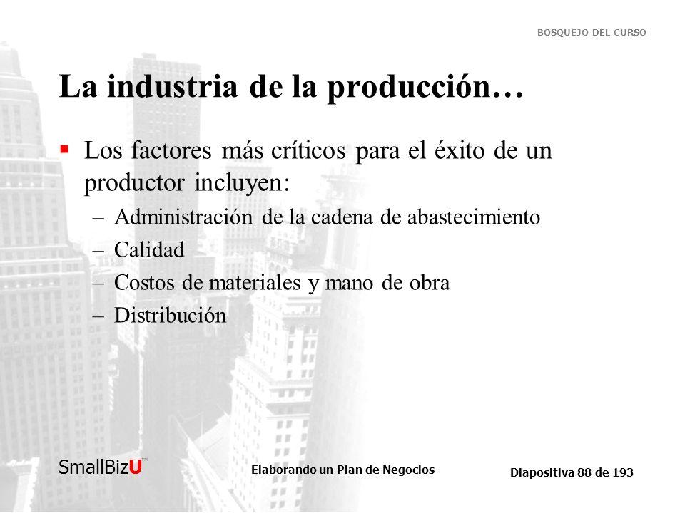 Elaborando un Plan de Negocios Diapositiva 88 de 193 SmallBizU BOSQUEJO DEL CURSO La industria de la producción… Los factores más críticos para el éxi