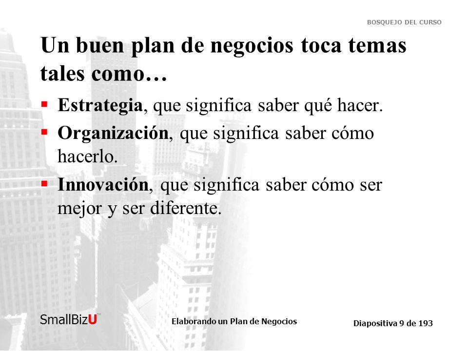 Elaborando un Plan de Negocios Diapositiva 9 de 193 SmallBizU BOSQUEJO DEL CURSO Un buen plan de negocios toca temas tales como… Estrategia, que signi
