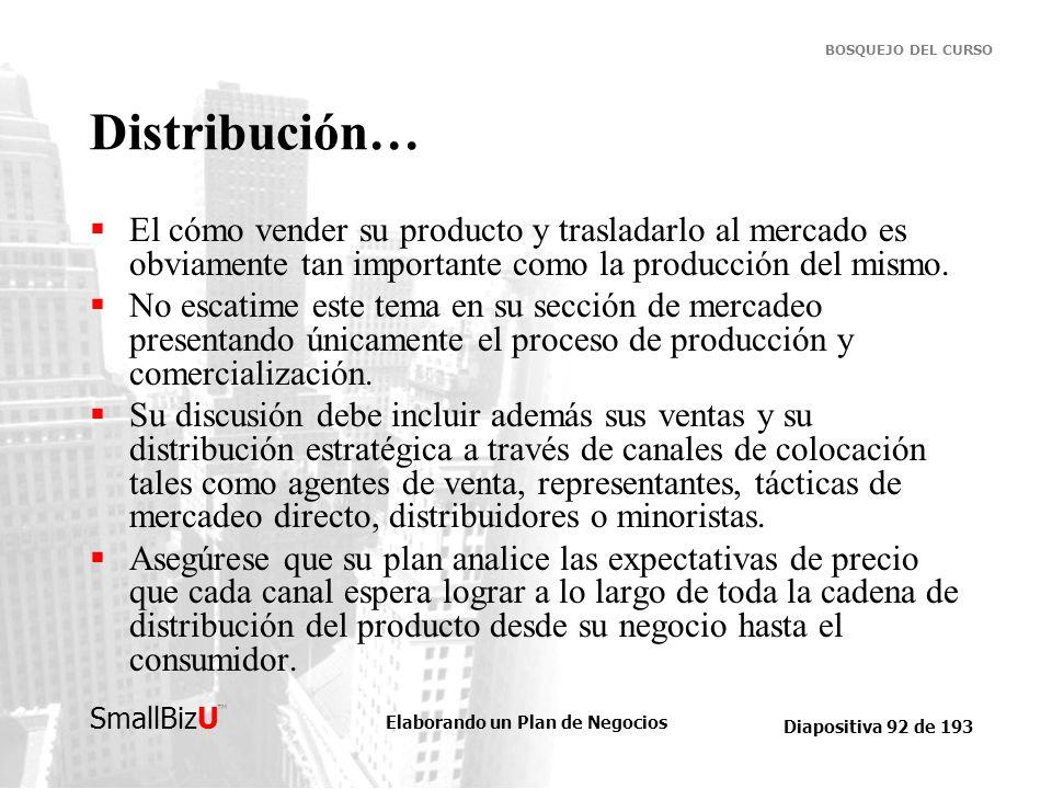 Elaborando un Plan de Negocios Diapositiva 92 de 193 SmallBizU BOSQUEJO DEL CURSO Distribución… El cómo vender su producto y trasladarlo al mercado es