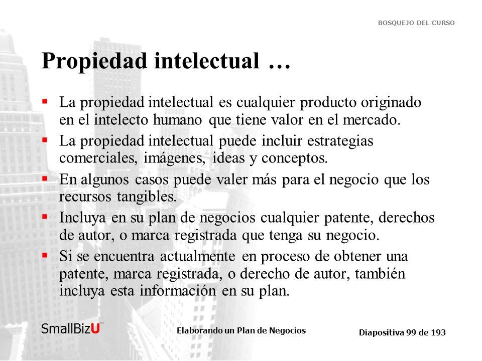 Elaborando un Plan de Negocios Diapositiva 99 de 193 SmallBizU BOSQUEJO DEL CURSO Propiedad intelectual … La propiedad intelectual es cualquier produc