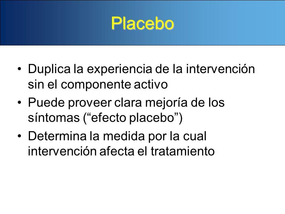 Placebo Duplica la experiencia de la intervención sin el componente activo Puede proveer clara mejoría de los síntomas (efecto placebo) Determina la m