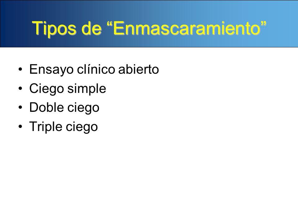 Tipos de Enmascaramiento Ensayo clínico abierto Ciego simple Doble ciego Triple ciego