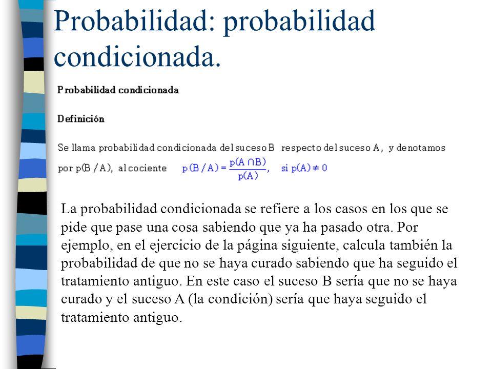Probabilidad: probabilidad condicionada. La probabilidad condicionada se refiere a los casos en los que se pide que pase una cosa sabiendo que ya ha p
