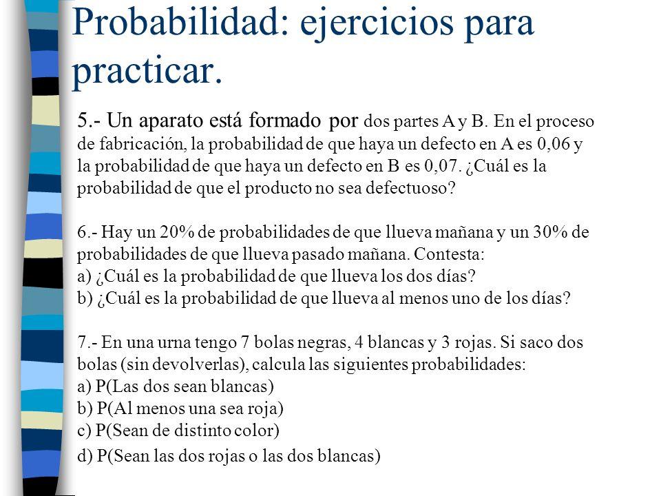 Probabilidad: ejercicios para practicar. 5.- Un aparato está formado por dos partes A y B. En el proceso de fabricación, la probabilidad de que haya u