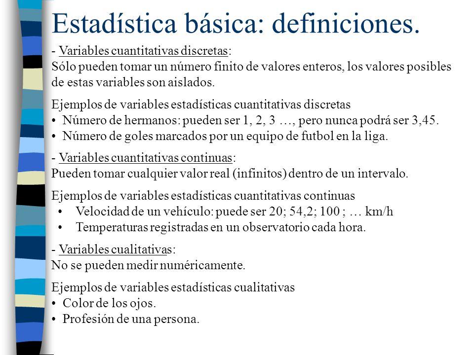 - Variables cuantitativas discretas: Sólo pueden tomar un número finito de valores enteros, los valores posibles de estas variables son aislados. Ejem