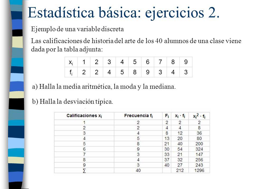 Estadística básica: ejercicios 2. Ejemplo de una variable discreta Las calificaciones de historia del arte de los 40 alumnos de una clase viene dada p