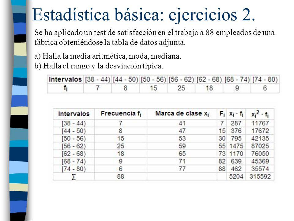 Estadística básica: ejercicios 2. Se ha aplicado un test de satisfacción en el trabajo a 88 empleados de una fábrica obteniéndose la tabla de datos ad