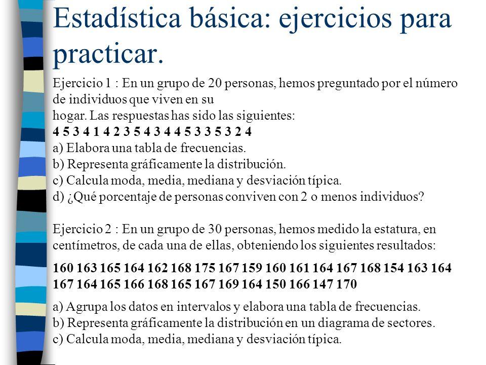 Estadística básica: ejercicios para practicar. Ejercicio 1 : En un grupo de 20 personas, hemos preguntado por el número de individuos que viven en su