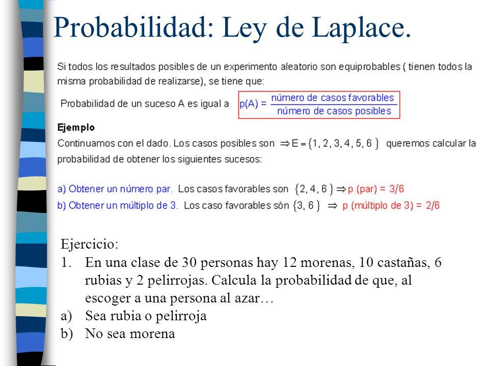 Probabilidad: Ley de Laplace. Ejercicio: 1.En una clase de 30 personas hay 12 morenas, 10 castañas, 6 rubias y 2 pelirrojas. Calcula la probabilidad d