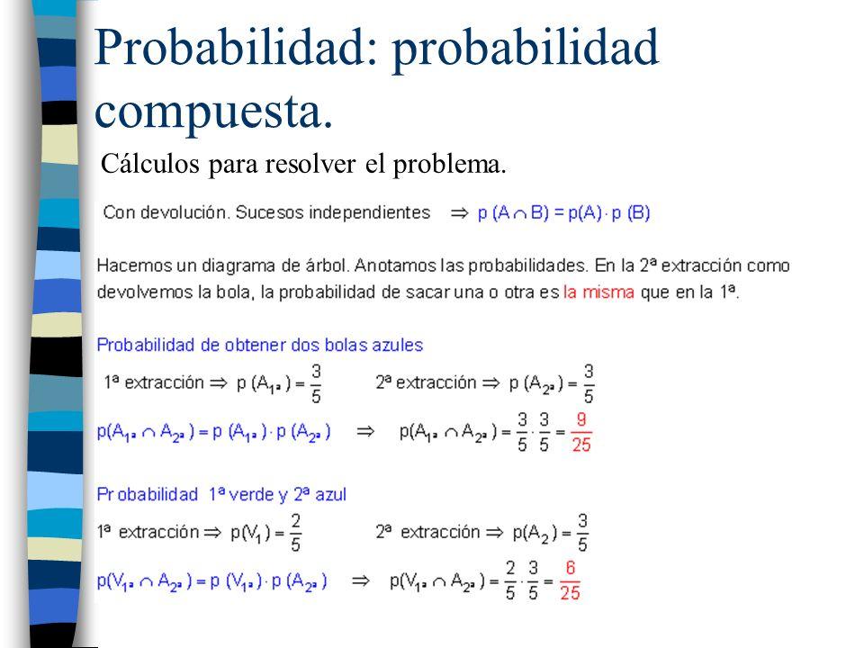 Probabilidad: probabilidad compuesta. Cálculos para resolver el problema.