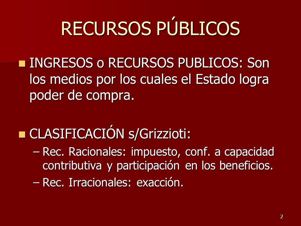 3 RECURSOS PÚBLICOS OTRAS CLASIFICACIONES: OTRAS CLASIFICACIONES: Recursos Ordinarios: Rec.