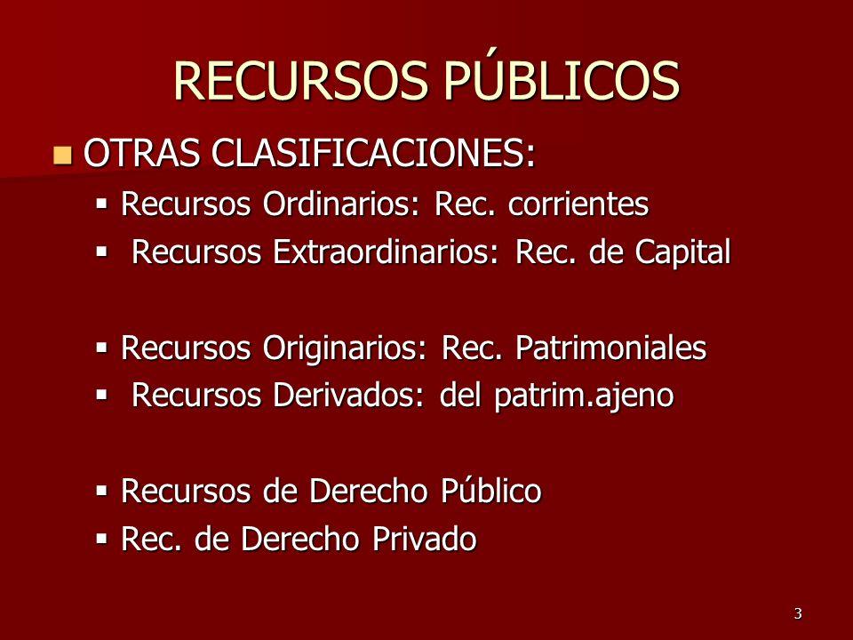 4 RECURSOS DEL ESTADO s/su Naturaleza: s/su Naturaleza: a)Recursos Patrimoniales: originarios, son precios, de D.Privado o Pco.