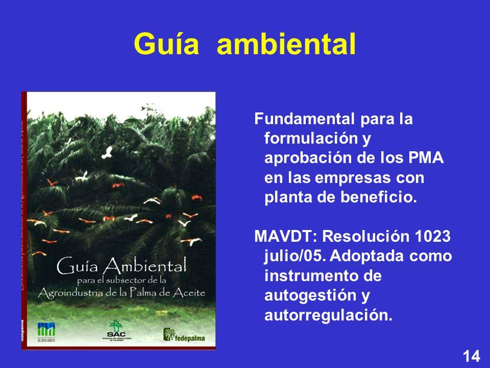 14 Fundamental para la formulación y aprobación de los PMA en las empresas con planta de beneficio. MAVDT: Resolución 1023 julio/05. Adoptada como ins