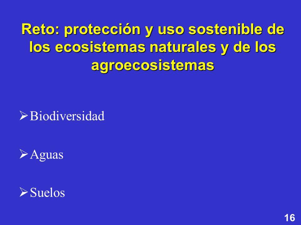 16 Reto: protección y uso sostenible de los ecosistemas naturales y de los agroecosistemas Biodiversidad Aguas Suelos