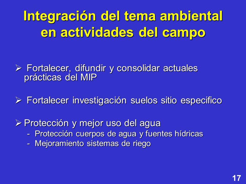 17 Integración del tema ambiental en actividades del campo Fortalecer, difundir y consolidar actuales prácticas del MIP Fortalecer, difundir y consoli