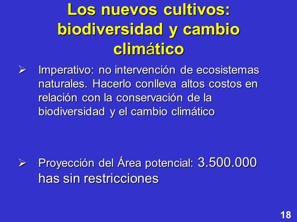 18 Los nuevos cultivos: biodiversidad y cambio climático Imperativo: no intervención de ecosistemas naturales. Hacerlo conlleva altos costos en relaci