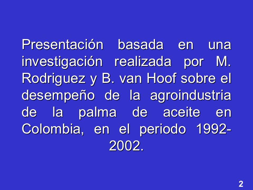 2 Presentación basada en una investigación realizada por M. Rodriguez y B. van Hoof sobre el desempeño de la agroindustria de la palma de aceite en Co