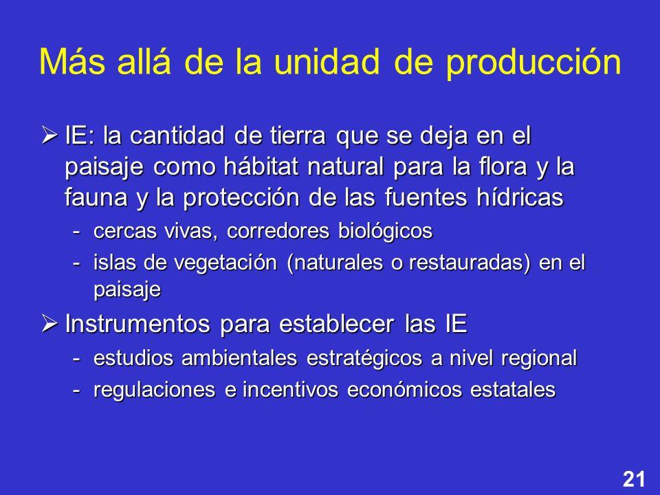 21 Más allá de la unidad de producción IE: la cantidad de tierra que se deja en el paisaje como hábitat natural para la flora y la fauna y la protecci