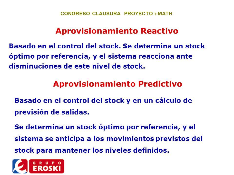 Aprovisionamiento Reactivo Basado en el control del stock. Se determina un stock óptimo por referencia, y el sistema reacciona ante disminuciones de e