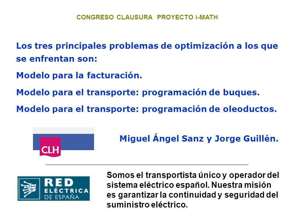 Miguel Ángel Sanz y Jorge Guillén. Los tres principales problemas de optimización a los que se enfrentan son: Modelo para la facturación. Modelo para