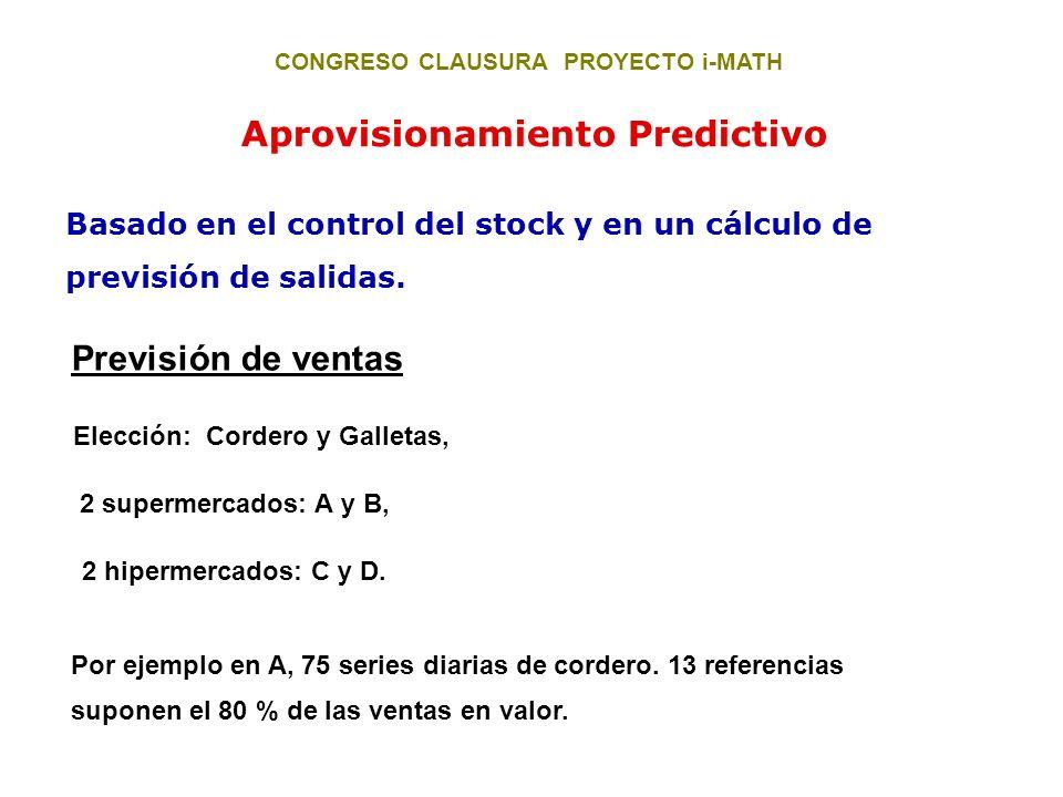 CONGRESO CLAUSURA PROYECTO i-MATH Elección: Cordero y Galletas, Aprovisionamiento Predictivo Basado en el control del stock y en un cálculo de previsi