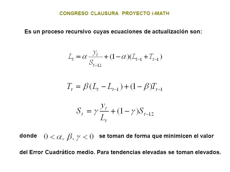 CONGRESO CLAUSURA PROYECTO i-MATH Es un proceso recursivo cuyas ecuaciones de actualización son: donde se toman de forma que minimicen el valor del Er