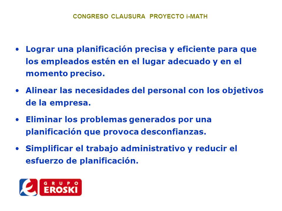 CONGRESO CLAUSURA PROYECTO i-MATH Supermercados.Se estudian muchas ubicaciones al año.